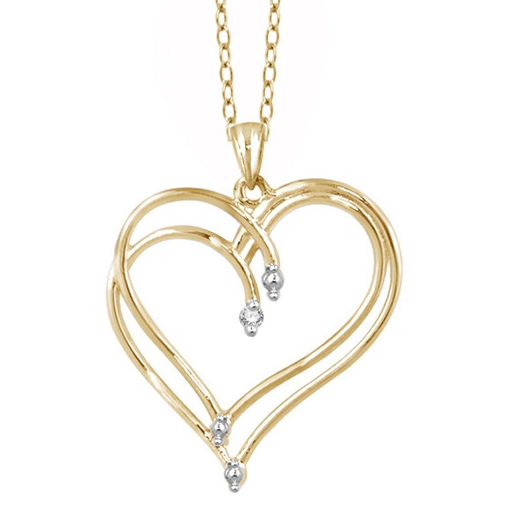 Women's Sterling Silver Round-Cut White Diamond Prong Set Double Heart Pendant - Yellow (18)