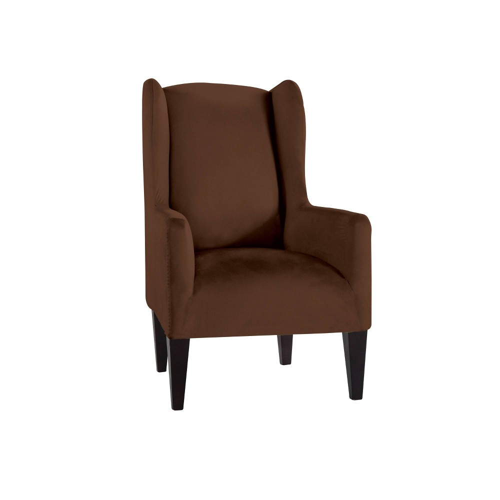 Image of Wingback Chair Reversible Stretch Suede Slipcover Chocolate - Serta