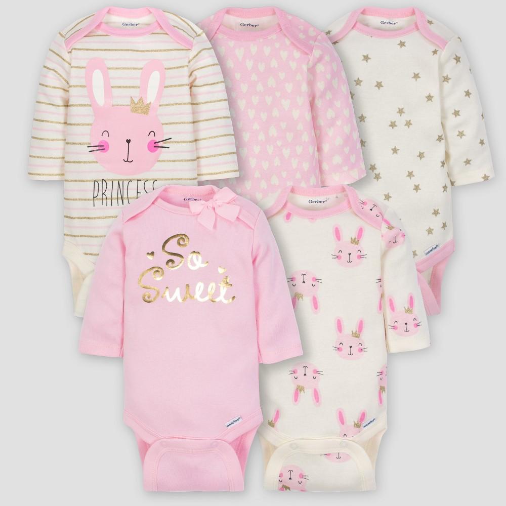 Gerber Baby Girls' 5pk Long Sleeve Onesies Bodysuit Princess - Pink/Cream 0/3M