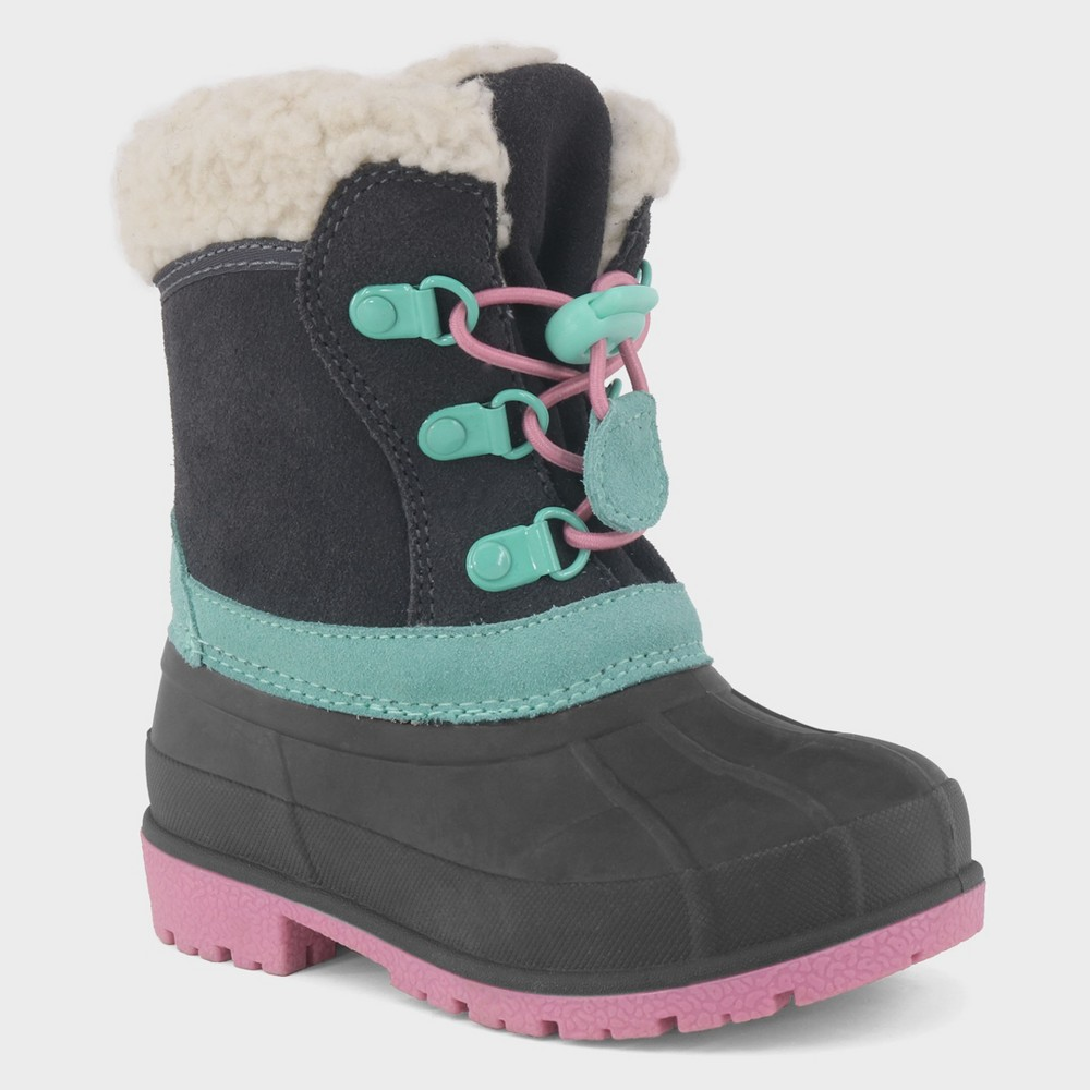 Toddler Girls' Sherpa Trim Lining Toggle Winter Boots - Cat & Jack Gray 5