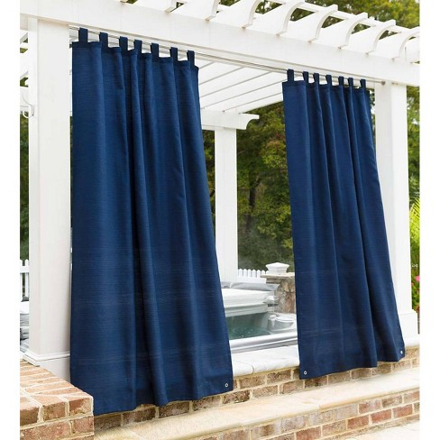 Outdoor Woven Grasscloth Single Curtain Panel With Grommet Top 110