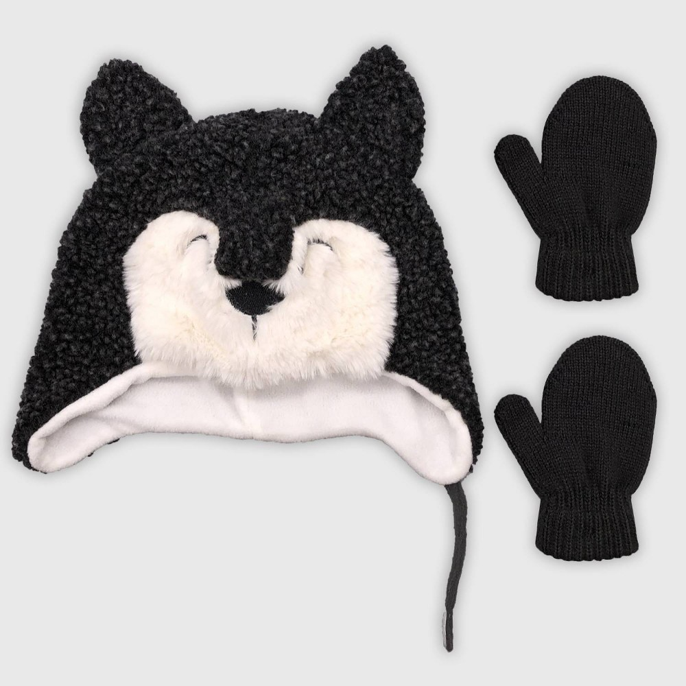 Image of Baby Boys' Hat And Glove Set - Cat & Jack Grey 12-24M, Boy's, Size: Small, Gray