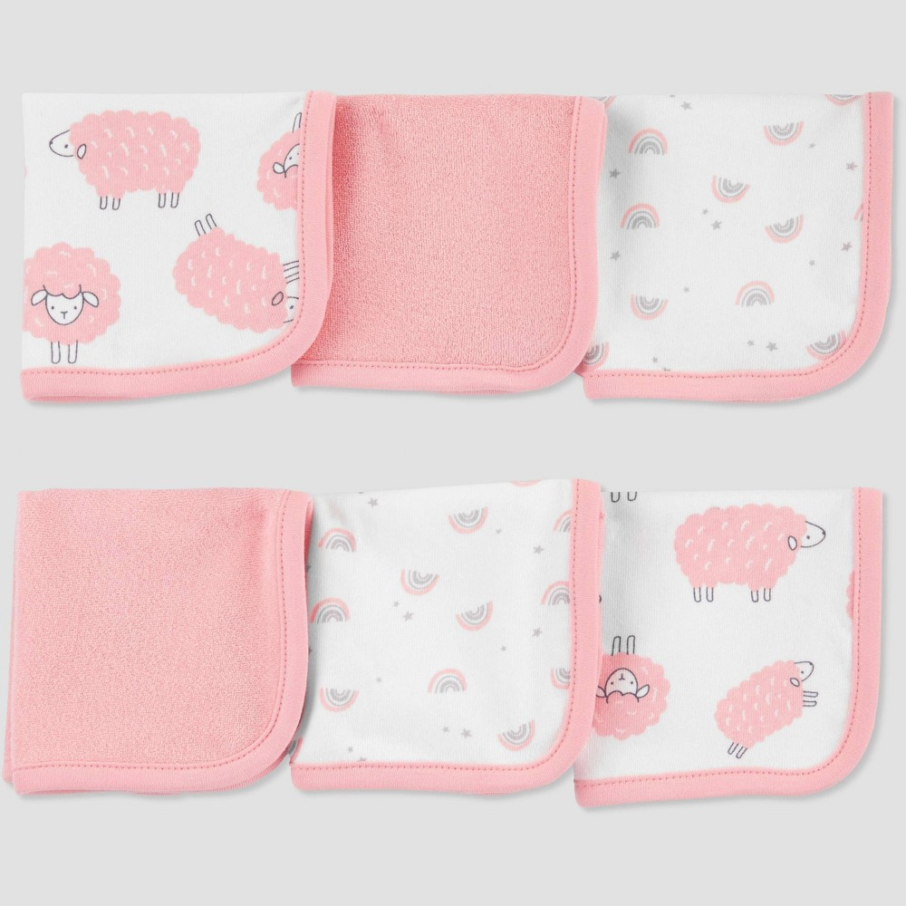 Image of Baby Girls' Sheep Washcloth Set - Just One You made by carter's Pink