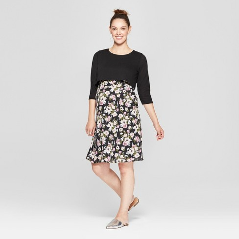 Maternity Floral Print 3/4 Sleeve Cropped Sweater Printed Dress - MaCherie - Black - image 1 of 3