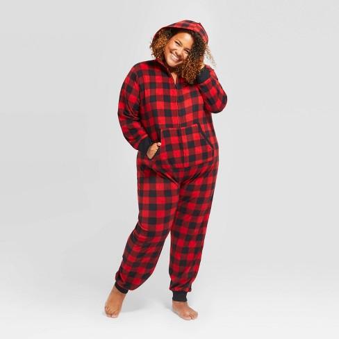 Women's Plus Size Holiday Buffalo Check Fleece Union Suit  - Wondershop™ Red - image 1 of 4