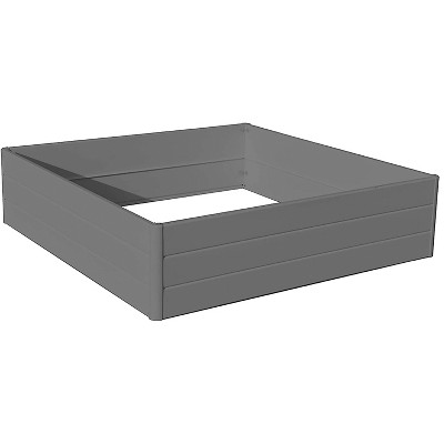 NuVue 26008 44 Inch Square Extra Tall Raised PVC Vegetable Flower Herb Garden Planter Patio Porch Terrace Deck Box, Gray