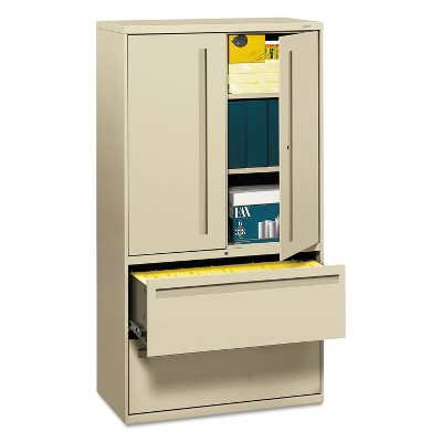 HON 700 Series Lateral File w/Storage Cabinet 36w x 19-1/4d Putty 785LSL