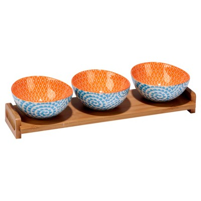 Certified International® Chelsea Mix & Match Porcelain and Bamboo 4pc Serving Set Orange