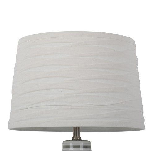 Linen Overlay Modified Drum Large Lamp