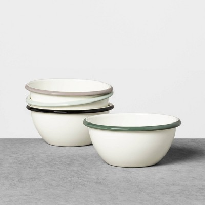4pk Enamelware Ice Cream Bowls Sour Cream with Colored Rim - Hearth & Hand™ with Magnolia