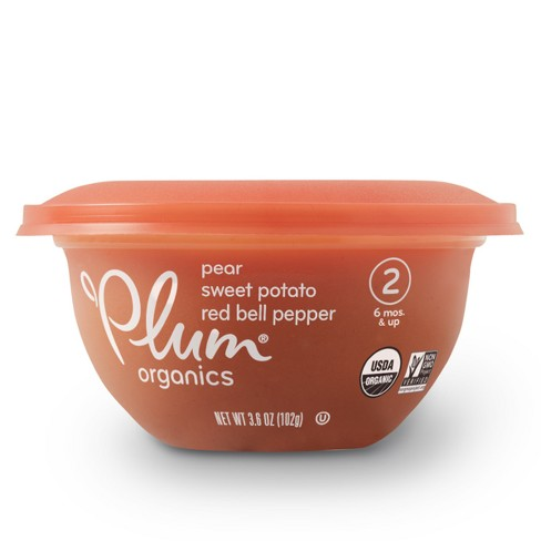 Plum Organics Baby Bowl, Pear Sweet Potato & Red Bell Pepper - 3.6oz - image 1 of 6