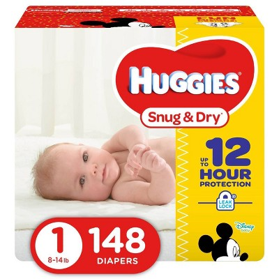 Huggies Snug & Dry Diapers Super Pack - Size 1 (148ct)