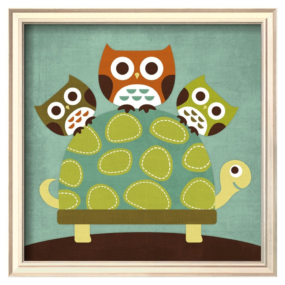 Art.com - Three Owls on Turtle Framed Print