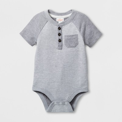 Baby Boys' Short Sleeve Bodysuit with Chest Pocket - Cat & Jack™ Gray <br>0-3M