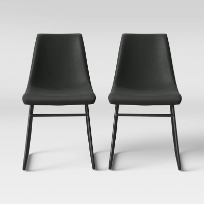2pk Bowden Faux Leather and Metal Dining Chair Dark Gray - Project 62™