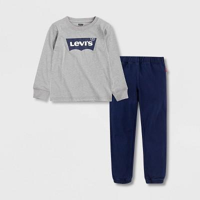 Levi's® Toddler Boys' 2pc Twill Top & Jogger Set - Heather Gray/Blue