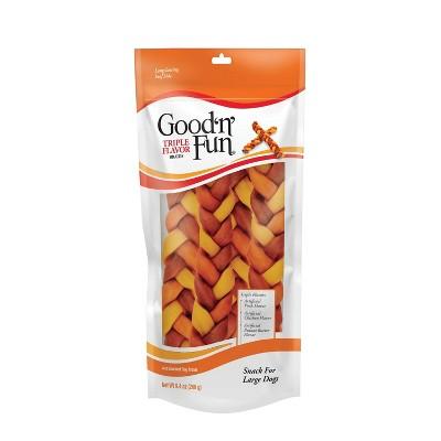 Good 'n' Fun Triple Flavor Braids Dental Chews Dog Treats - 4ct