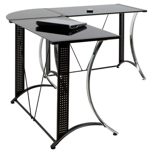 Monterey L-Shaped Desk - Chrome / Black Glass - image 1 of 2