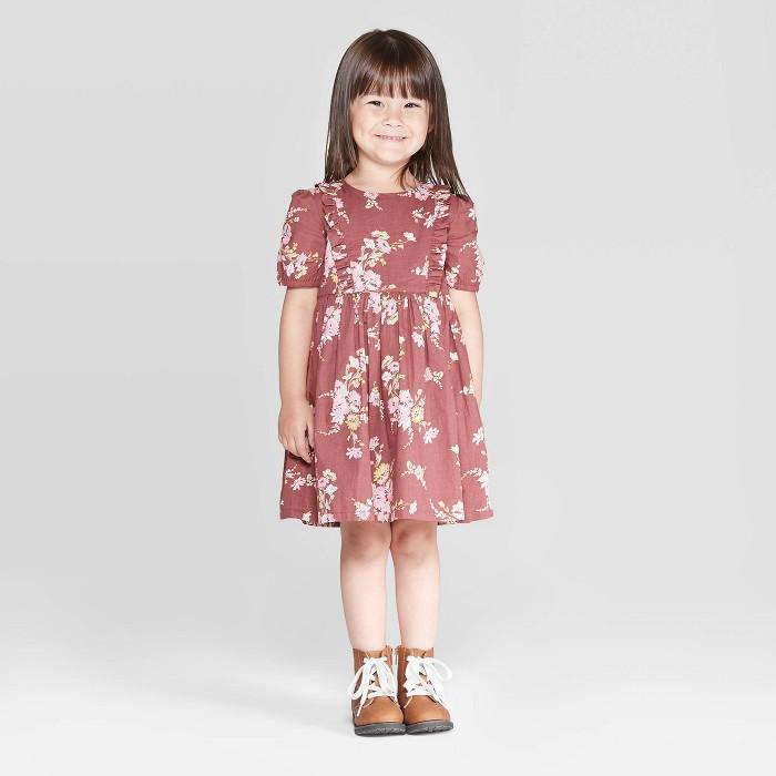 OshKosh B'gosh Toddler Girls' Floral Short Sleeve Dress - Burgundy - image 1 of 3