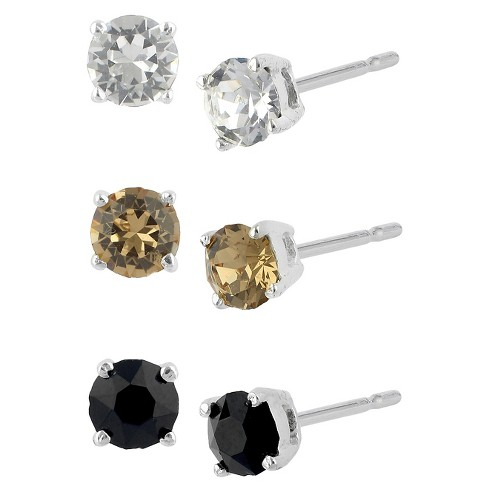 Women's Sterling Silver Stud Earrings Set with 3 Pairs of Crystal Stud - image 1 of 1