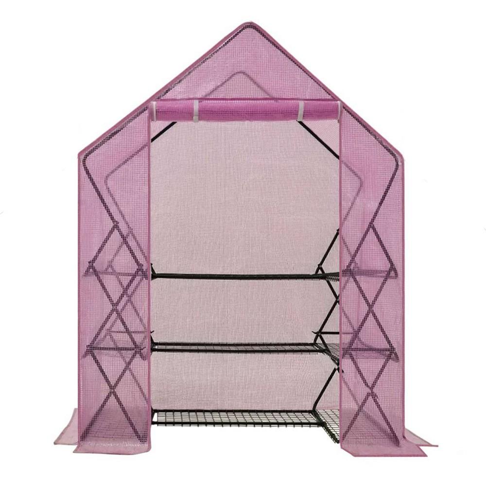 Image of 3 Tier 9 Shelf Pop-Up Greenhouse with Lilac Premium PE Cover - OGrow