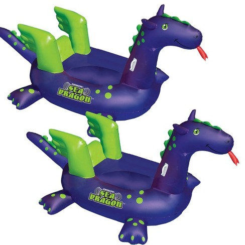 Swimline Swimming Pool Kids Giant Rideable Sea Dragon Inflatable Float (2 Pack) - image 1 of 3
