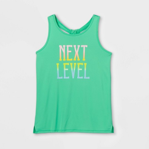 Girls' 'Next Level' Graphic Tank Top - All in Motion™ Green - image 1 of 2