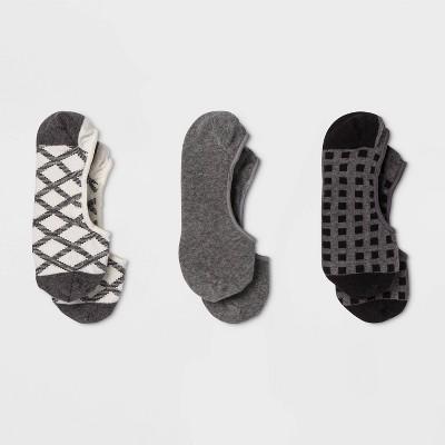 Women's Tonal Check 3pk Liner Socks - A New Day™ Black/Gray 4-10