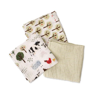 Red Rover Cotton Muslin Swaddle - Family Farm 3pk