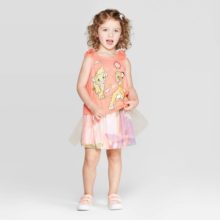 Toddler Girls' Disney Nala and Simba Tank and Skirt Set - Coral - image 1 of 3