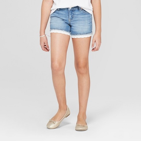 Girls' Crochet Jean Shorts - Cat & Jack™ Light Wash - image 1 of 3