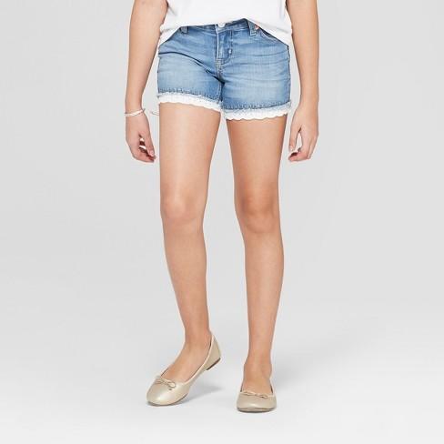 Girls' Crochet Jean Shorts - Cat & Jack™ - image 1 of 3