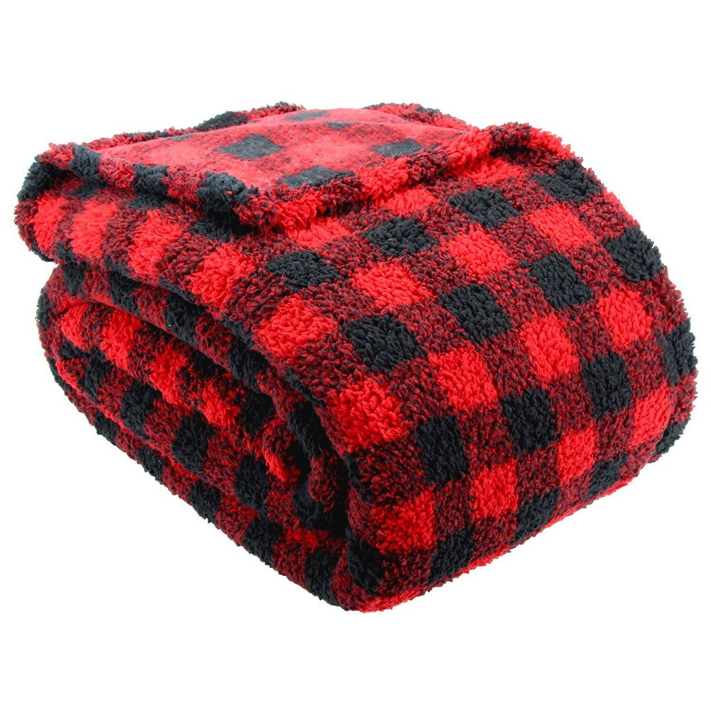 Image of Lodge Collection King Printed Pattern Sherpa Bed Blanket Buffalo Plaid - Posh Home