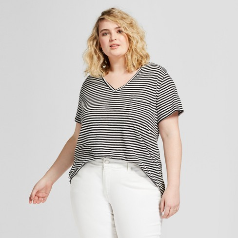 f30277cce9a Women s Plus Size Monterey Pocket V-Neck Stripe Short Sleeve T-Shirt -  Universal Thread™ Black White Stripe