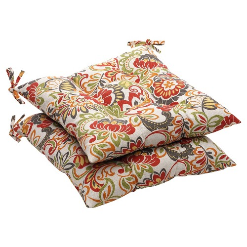 Outdoor 2-Piece Tufted Chair Cushion Set - Green/Off-White/Red Floral, Red Green