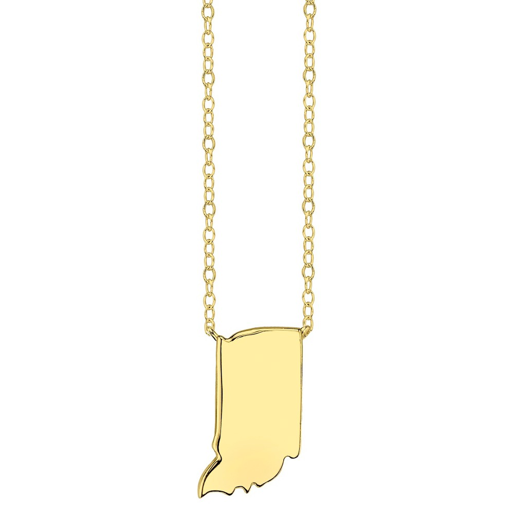 Footnotes State Pendant - Gold, Girl's, Indiana