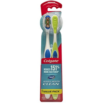 Colgate 360 Toothbrush with Tongue and Cheek Cleaner - Medium - 2ct