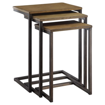 Caroline Nesting Table Set - Harvest Oak/Aged Iron - Carolina Chair and Table