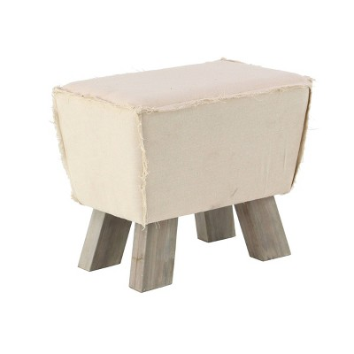 Rustic Wood and Foot Stool with Cushion White - Olivia & May