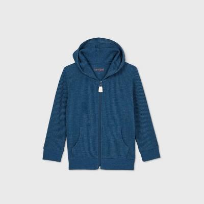 Toddler Boys' Waffle Knit Hooded Zip-Up Long Sleeve T-Shirt - Cat & Jack™ Dark Blue 18M