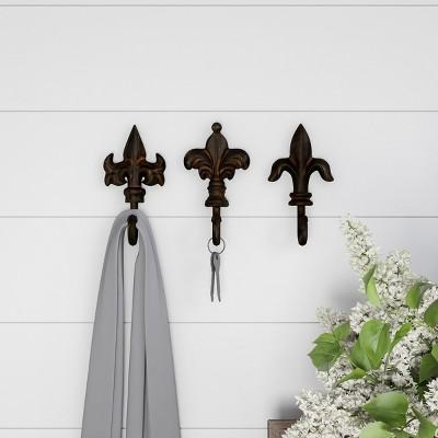 Pronged Cast Iron Decorative Hooks Black Espresso (Set of 3)- Lavish Home