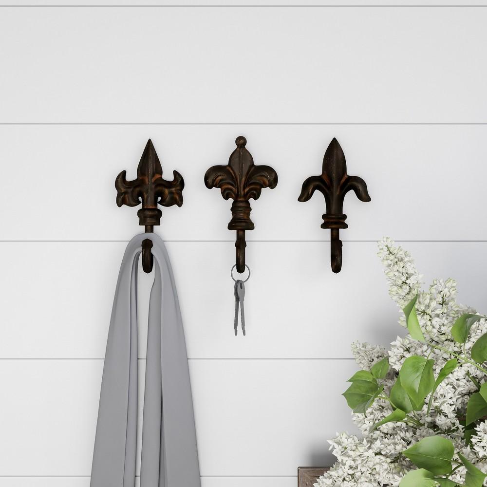 Pronged Cast Iron Decorative Hooks Black Espresso (Set of 3) - Lavish Home