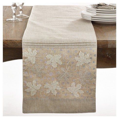 "Light Brown Maple Leaves Design Table Runner (13""x72"") - Saro Lifestyle® - image 1 of 1"