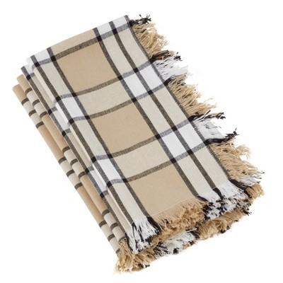 Set of 4 Cotton Napkins With Khaki Plaid Design Beige - Saro Lifestyle