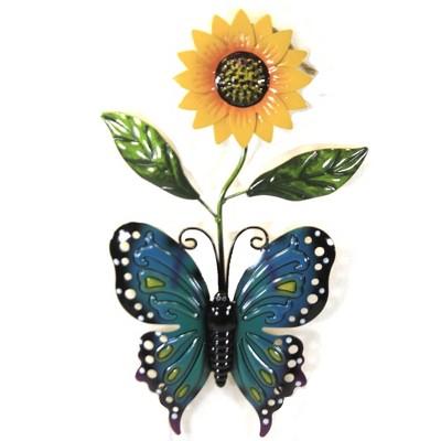"Home & Garden 22.0"" Sunflower & Butterfly Stake Yard Decor Poke Summer Direct Designs International  -  Decorative Garden Stakes"