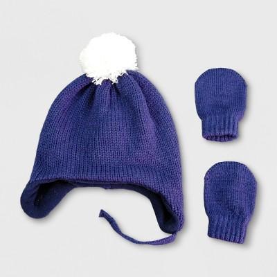 Baby Boys' Hat and Mitten Set - Cat & Jack™ Navy Newborn