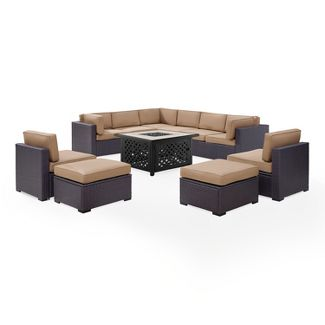 Biscayne 8pc All-Weather Wicker Patio Seating Set - Mocha - Crosley