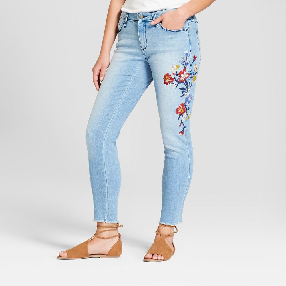 Women's Mid-Rise Embroidered Skinny Jeans - Universal Thread Light Wash 14 Long, Blue