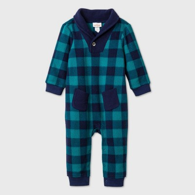 Baby Boys' Plaid Microfleece Elevated Romper - Cat & Jack™ Blue 3-6M