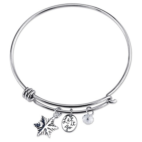 "Women's Disney Stainless Let it go Snowflake and Crystal Bead Bracelet - Silver (8"") - image 1 of 1"
